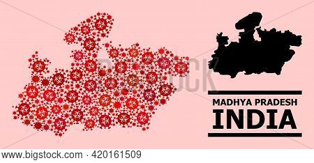 Vector Covid Mosaic Map Of Madhya Pradesh State Created For Pharmacy Illustrations. Red Mosaic Map O