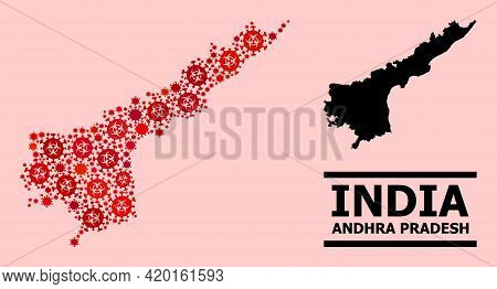 Vector Covid-2019 Mosaic Map Of Andhra Pradesh State Done For Hospital Wallpapers. Red Mosaic Map Of