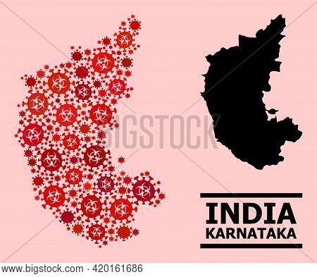 Vector Covid Mosaic Map Of Karnataka State Organized For Lockdown Advertisement. Red Mosaic Map Of K