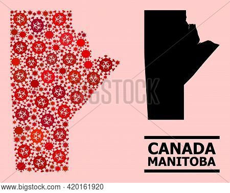 Vector Covid-2019 Mosaic Map Of Manitoba Province Done For Medicare Posters. Red Mosaic Map Of Manit