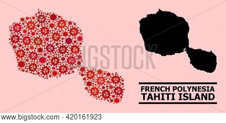 Vector Covid-2019 Collage Map Of Tahiti Island Designed For Health Care Purposes. Red Mosaic Map Of