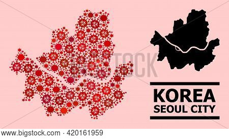 Vector Covid-2019 Collage Map Of Seoul Municipality Combined For Health Care Advertisement. Red Mosa