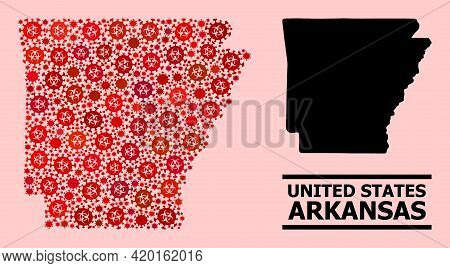 Vector Covid Mosaic Map Of Arkansas State Combined For Pharmacy Wallpapers. Red Mosaic Map Of Arkans