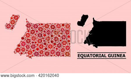 Vector Covid-2019 Mosaic Map Of Equatorial Guinea Combined For Lockdown Illustrations. Red Mosaic Ma