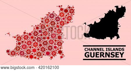 Vector Covid-2019 Mosaic Map Of Guernsey Island Combined For Hospital Illustrations. Red Mosaic Map