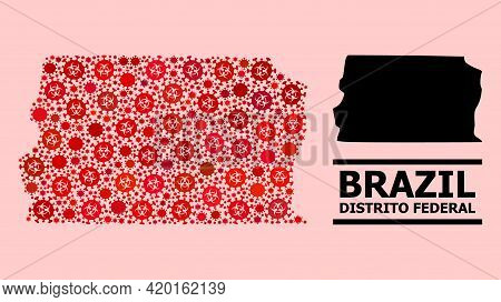 Vector Covid Mosaic Map Of Brazil - Distrito Federal Created For Health Care Projects. Red Mosaic Ma