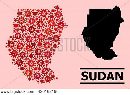Vector Covid-2019 Composition Map Of Sudan Combined For Doctor Illustrations. Red Mosaic Map Of Suda