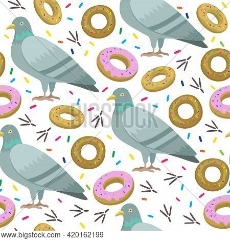 Seamless Pattern With Cute Cartoon Pigeons. Vector Illustration.