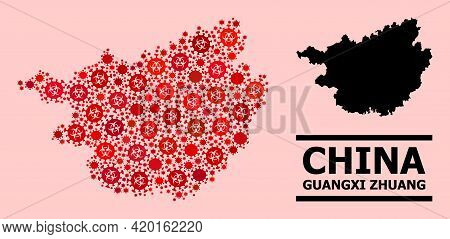 Vector Covid Mosaic Map Of Guangxi Zhuang Region Created For Doctor Applications. Red Mosaic Map Of