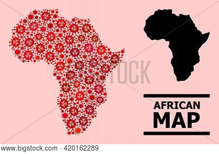 Vector Covid-2019 Mosaic Map Of Africa Created For Doctor Wallpapers. Red Mosaic Map Of Africa Is Co