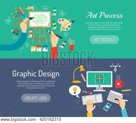 Creative Process Horizontal Banners Set With Painter And Graphic Designer Workspace Isolated Vector