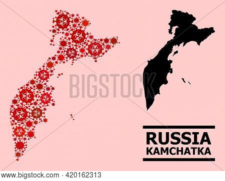 Vector Covid-2019 Mosaic Map Of Kamchatka Peninsula Designed For Pharmacy Purposes. Red Mosaic Map O