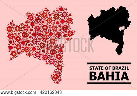 Vector Covid-2019 Composition Map Of Bahia State Combined For Vaccination Advertisement. Red Mosaic