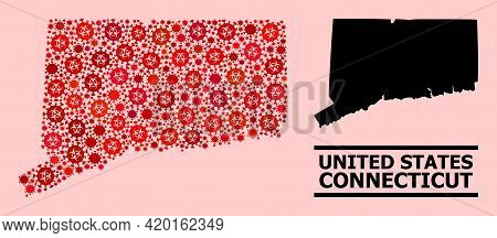 Vector Covid Mosaic Map Of Connecticut State Created For Lockdown Projects. Red Mosaic Map Of Connec
