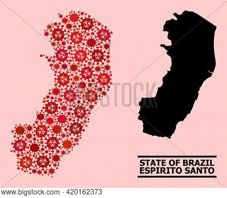 Vector Covid-2019 Mosaic Map Of Espirito Santo State Constructed For Vaccination Illustrations. Red