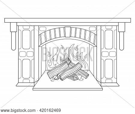 Fireplace With Burning Wood - Vector Linear Illustration For Coloring. Burning Hearth. Outline. A Fi
