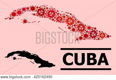 Vector Covid Composition Map Of Cuba Created For Doctor Advertisement. Red Mosaic Map Of Cuba Is Cre