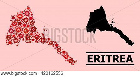 Vector Covid-2019 Mosaic Map Of Eritrea Constructed For Pharmacy Projects. Red Mosaic Map Of Eritrea