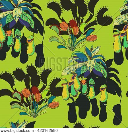 Seamless Pattern With Carnivores Plants. Vector Illustration.