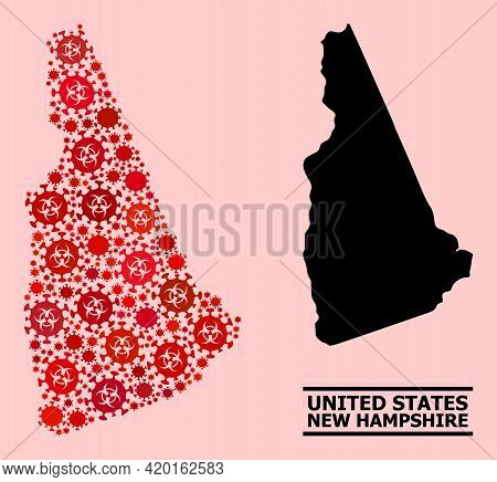 Vector Coronavirus Mosaic Map Of New Hampshire State Designed For Medicare Purposes. Red Mosaic Map