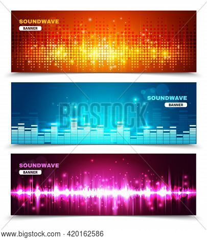 Audio Equalizer Sound Wave Display 3 Horizontal Banners Set In Vivid Bright Colors Abstract Isolated