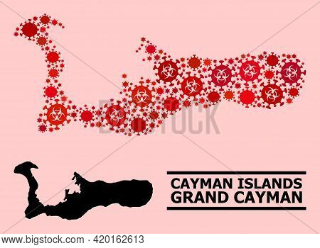 Vector Covid Composition Map Of Grand Cayman Island Designed For Health Care Wallpapers. Red Mosaic