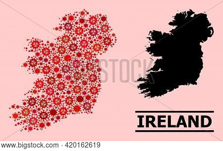 Vector Covid-2019 Mosaic Map Of Ireland Island Done For Pharmacy Advertisement. Red Mosaic Map Of Ir