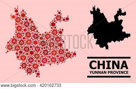 Vector Coronavirus Mosaic Map Of Yunnan Province Created For Lockdown Purposes. Red Mosaic Map Of Yu