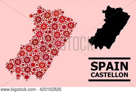 Vector Covid Mosaic Map Of Castellon Province Done For Hospital Purposes. Red Mosaic Map Of Castello