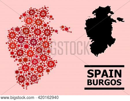 Vector Covid-2019 Composition Map Of Burgos Province Done For Pharmacy Illustrations. Red Mosaic Map