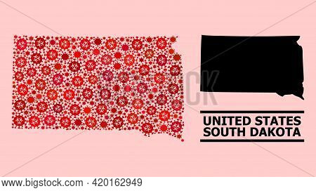 Vector Covid Mosaic Map Of South Dakota State Designed For Pharmacy Wallpapers. Red Mosaic Map Of So