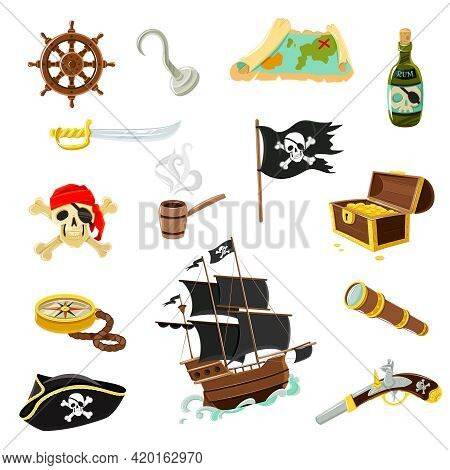 Pirate Accessories Flat Icons Collection With Wooden Treasure Chest And Black Jolly Roger Flag Abstr