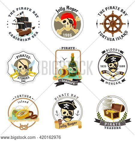 Caribbean Sea Pirates Emblems Set With Ship Helm And Tortuga Island Treasures Map Abstract Isolated