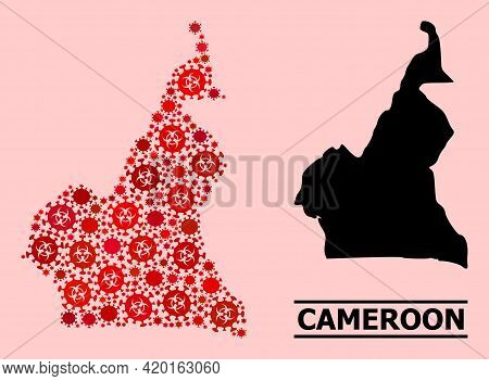 Vector Covid Mosaic Map Of Cameroon Organized For Doctor Applications. Red Mosaic Map Of Cameroon Is