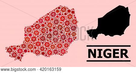 Vector Covid-2019 Mosaic Map Of Niger Created For Vaccination Purposes. Red Mosaic Map Of Niger Is S