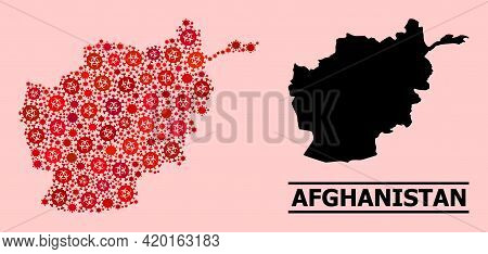 Vector Covid-2019 Composition Map Of Afghanistan Constructed For Hospital Posters. Red Mosaic Map Of