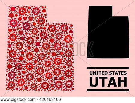 Vector Coronavirus Mosaic Map Of Utah State Designed For Doctor Purposes. Red Mosaic Map Of Utah Sta