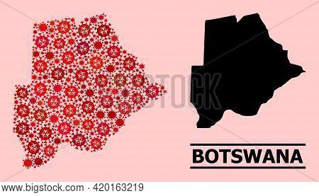 Vector Coronavirus Mosaic Map Of Botswana Organized For Clinic Posters. Red Mosaic Map Of Botswana I
