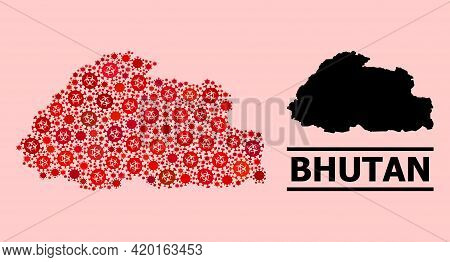 Vector Covid Collage Map Of Bhutan Done For Vaccination Wallpapers. Red Mosaic Map Of Bhutan Is Done