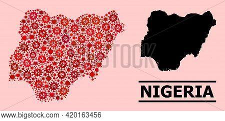 Vector Covid Mosaic Map Of Nigeria Designed For Pandemic Purposes. Red Mosaic Map Of Nigeria Is Done