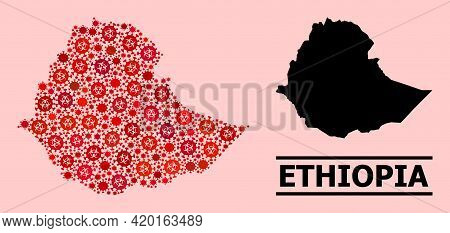 Vector Covid-2019 Collage Map Of Ethiopia Designed For Vaccination Purposes. Red Mosaic Map Of Ethio