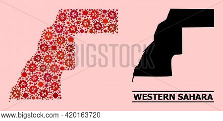 Vector Covid Mosaic Map Of Western Sahara Organized For Pharmacy Purposes. Red Mosaic Map Of Western