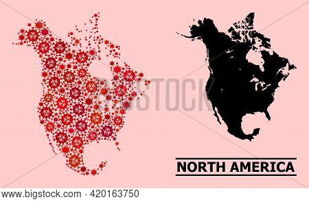 Vector Covid Mosaic Map Of North America Created For Medicare Illustrations. Red Mosaic Map Of North