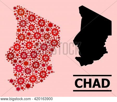 Vector Covid Mosaic Map Of Chad Created For Doctor Illustrations. Red Mosaic Map Of Chad Is Formed O