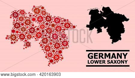 Vector Coronavirus Mosaic Map Of Lower Saxony State Designed For Hospital Applications. Red Mosaic M