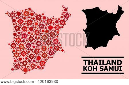 Vector Covid Mosaic Map Of Koh Samui Combined For Pandemic Projects. Red Mosaic Map Of Koh Samui Is
