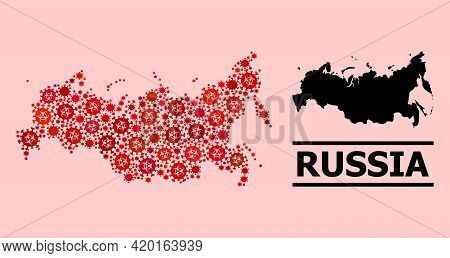 Vector Covid Mosaic Map Of Russia Designed For Vaccination Wallpapers. Red Mosaic Map Of Russia Is D