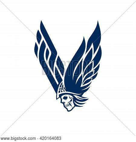 V For Viking Logo. Letter V And Skull Logo.