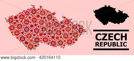 Vector Coronavirus Mosaic Map Of Czech Republic Created For Lockdown Wallpapers. Red Mosaic Map Of C