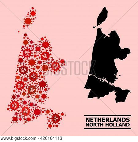 Vector Covid Mosaic Map Of North Holland Constructed For Lockdown Illustrations. Red Mosaic Map Of N